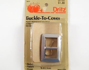 Vintage Buckle Kit to Cover With Your Own Fabric Pattern Dritz 1980s DIY Sewing Supply 3/4""