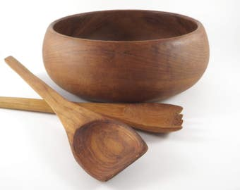 Vintage Wooden Bowl Salad Serving Set Wood Tongs Spoon Fork From Over Seas Soldier Brought Home to Mom 1950s