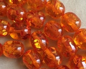 CLEARANCE Summer Bright Orange Beads Acrylic 10 Beads 12x15 mm