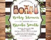 Woodland Baby shower Invitation, Baby shower invitation woodland, Baby shower invitation girl, baby shower invitation boy, bear, fox, 1753