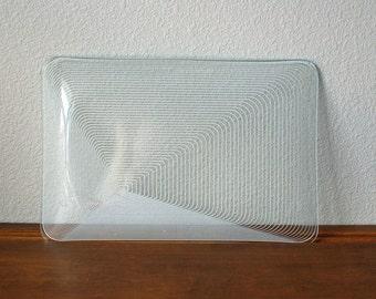 Vintage Pop art modern stripped glass dish tray geometric Ultra Mod modernist