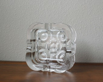 Mid Century Vintage Scandinavian glass square floral ice ashtray