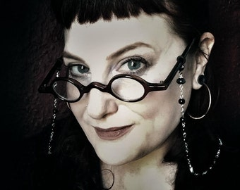 The Morrigan Glasses Chain. Celtic Gothic Rosary Eyeglass or Glasses Chain. Morbid Librarian Chic.