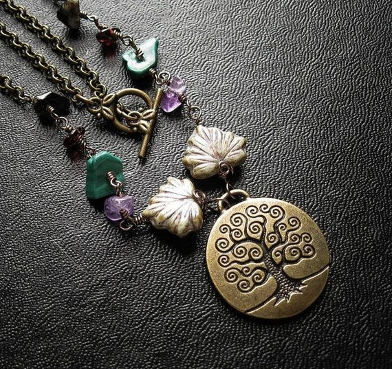 Sacred Wheel of the Year Tree Necklace. Yggdrasil. Cross Days
