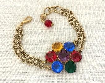 Repurposed Rhinestone Bracelet Gift for Girlfriend - 1930s Rhinestone Bracelet - Vintage Repurposed Bracelet - Red Bracelet - Blue Bracelet