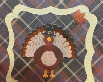 Autumn Fall Thanksgiving Greeting Card - Pilgrim Turkey