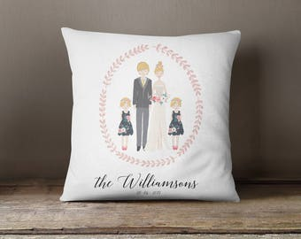 Square Pillow Wedding family Portrait Printed with personalised message