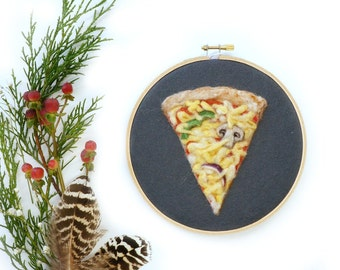 "Veggie Pizza Slice - Needle Felted Wool Painting - 6"" Hoop"