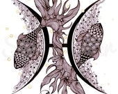 Zodiac  Zentangle  PISCES  - print from original design and drawing, yoga wall decor