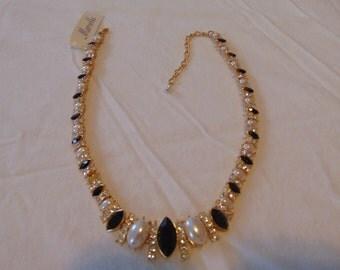 nwt vintage marvella gold crystal pearl necklace unworn sparkling