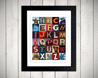 Vintage Alphabet Wall Art - Neon sign letters - 8 x 10 DIGITAL DOWNLOAD