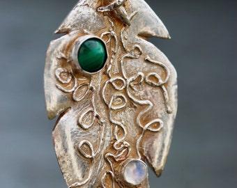 Spring Leaf, Mystical Pendant, Fine Bohemian, Moonstone, Green Malachite