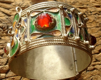 Moroccan multi enamel bracelet cuff with red jewels