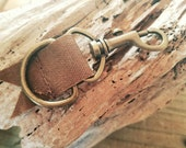 Waxed canvas and metal key chain, light brown