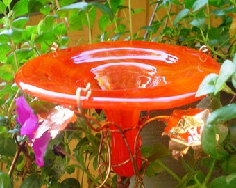 HUMMINGBIRD FEEDER, Red Orange, stained glass,  copper art, GARDEN Gift, Home and Living, Outdoor