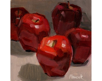 Five Red Apples on Gray - Red Delicious Apples Still Life