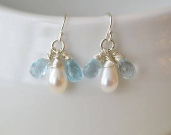 Blue Topaz, Pearl Earrings, Pearl Earrings, Bridesmaid Gift, Something Blue Earrings, Weddings Jewelry, Blue Topaz Earrings