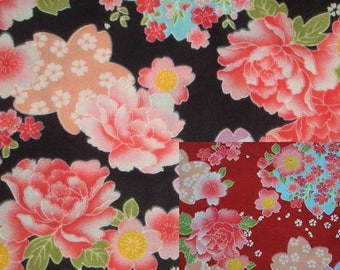 Japanese red peony, 1/2 yard, pure cotton fabric