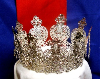 Annhja -Lovely Traditional Norwegian Sognefjord Solje Style Silver Plated Filigree Brudekrone Wedding Crown with Hearts and Drops