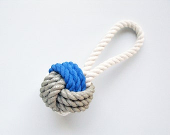 ORNAMENT - Blue & Silver Painted Monkey's Fist Knot