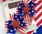 "Pigtail Bows, red white and blue pigtail bows for Memorial Day - Stars & Stripes - 4th of July and Summer -- choose 3"", 4"" or 5"" bows"
