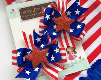 """Pigtail Bows, red white and blue pigtail bows for Memorial Day - Stars & Stripes - 4th of July and Summer -- choose 3"""", 4"""" or 5"""" bows"""