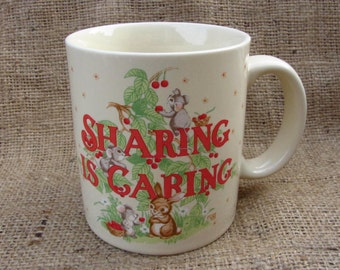 Vintage Christmas Cup Cute Animals Sharing is Caring Mug Gibson Otagori Japan