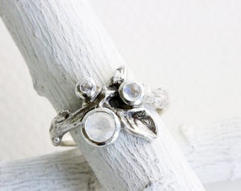 Gem Cluster,Double Rainbow Moonstone and White Sapphire Silver Leaf Twig Ring,Leaf Fine Jewelry