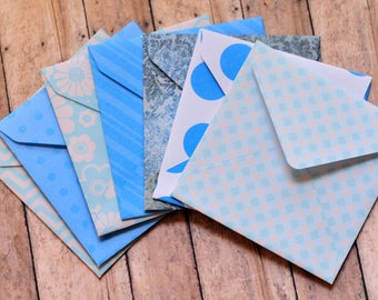 Blue Patterned Mini Cards // Blank Cards // Gift Card Envelopes // Party Favor // Guestbook Alternative // Love Note // Advice Cards