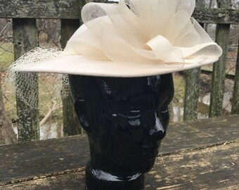 Ladies Vintage Sonni San Francisco Off White Felt Veil Hat
