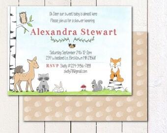 Woodland Animal/ Fox/ Deer/ Baby Shower or Birthday invitation and envelope