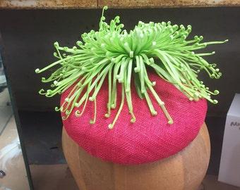 Crazy Chrysanthemum Neon Pink Sinamay Pillbox Cocktail Hat.  Sinamay Cocktail Hat, Pillbox Hat, Kentucky Derby, Racing Fashion,
