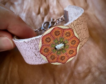Mandala Bracelet - Leather Cuff Bracelet - Green Orange Mandala - Gypsy Bracelet - Pastel Pink Distressed Leather