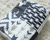Woodlands Deer Baby Blanket, Navy Blue, Mint, Grey, Aztec, Arrow Crib Patchwork Minky Blanket