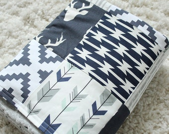 Baby Blanket - Navy, Mint and Grey Woodlands Baby Blanket