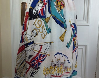 Vintage Apron Blue 1953 Queens Coronation Fabric Mid Century London Art Jack