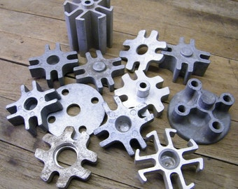 Vintage Lot of 12 Pieces of Old Automotive Fan Blade Spacers for Assemblage Altered Art Steampunk Repurpose
