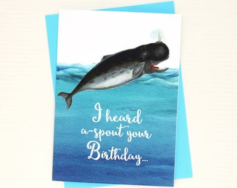 Whale Birthday Card - Funny Whale Birthday Card - Birthday Card with a Pun