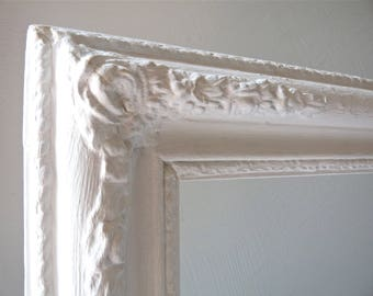 Big French Distressed Wooden Frame  - French Antique Frame - French shabby chic - french frame -  gold frame white patina