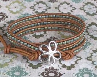 Wrap Bracelet Green Aqua Beaded Bracelet Seed Beads Tan Leather Wrap Bracelet Free Shipping
