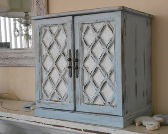 Rustic Table Top Cabinet - Petite Shabby Chic Lattice Front Interior Shelf  Unit - Organizer Distressed