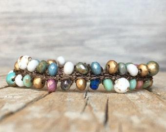 Beaded hippie boho bracelet - Hippie bracelet - Boho crochet bracelet - Boho Hippie Stackable Bracelet - artisan beaded bracelet - yoga boho