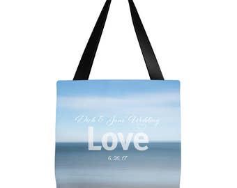 Custom Name  tote | Wedding Tote | Bridesmaid gift | Beach Tote Bag- Ocean Shore Design 16 x 16 or 18 x 18 |  Beach bag, summer tote