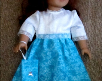 """Turquoise & White Lace Trimmed Dress Wristlet Purse  3 Piece Outfit Fits American Girl or Similar 18"""" Doll"""