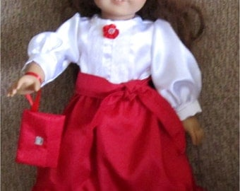 """Bright Red & White Fancy Satiny Maxi Skirt Sash Purse Lace Trimmed Blouse Fits American Girl Dolls or Similar 18"""" Doll"""