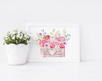 Peony Crate Art Print, art print, pink peony, ideal for flower lovers, ideal gift
