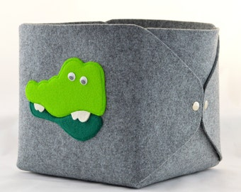 Storage basket, felt storage bin, felt bin, felt basket toys, storage box, storage bin, toy storage grey with crocodile, gray storage bin