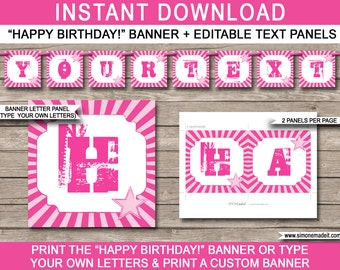 Rockstar Birthday Banner - Happy Birthday Banner - Custom Banner - Rock Star Party Decorations - Pink - INSTANT DOWNLOAD with EDITABLE text