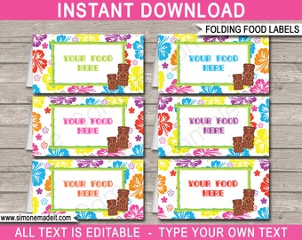 Luau Food Labels - Luau Theme Party - Buffet Tags - Placecards - Printable Party Decorations - INSTANT DOWNLOAD with EDITABLE text