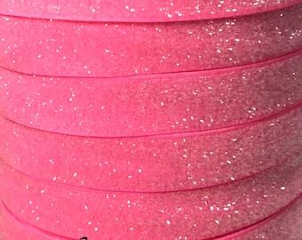 "Bright Pink Glitter Elastic, 5/8"", Elastic By the Yard, Glitter Elastic, Pink FOE, Frosted Elastic, Elastic Hair Ties, Elastic Headbands"